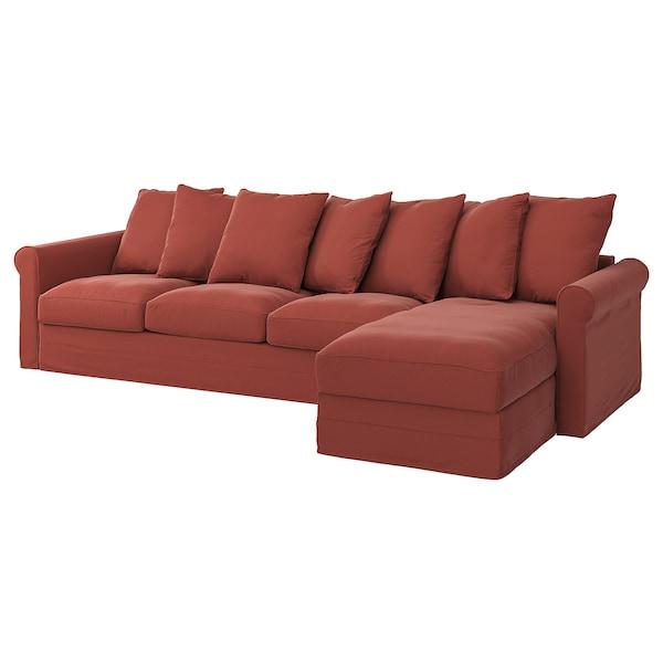 GRÖNLID Housse canapé 4 places, avec méridienne/Ljungen rouge clair