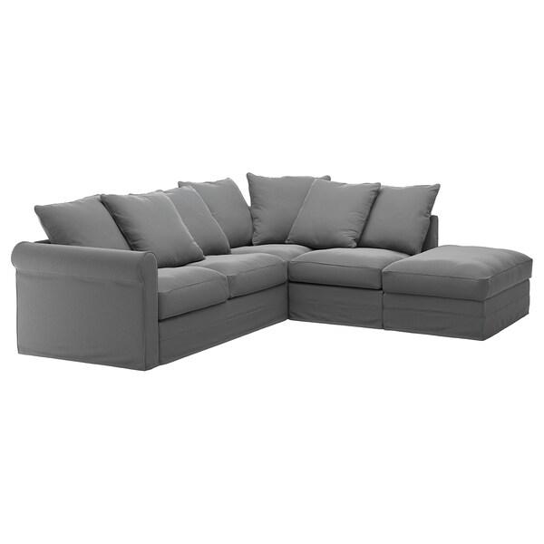 GRÖNLID Housse canapé d'angle, 4 places, sans accoudoir/Ljungen gris moyen