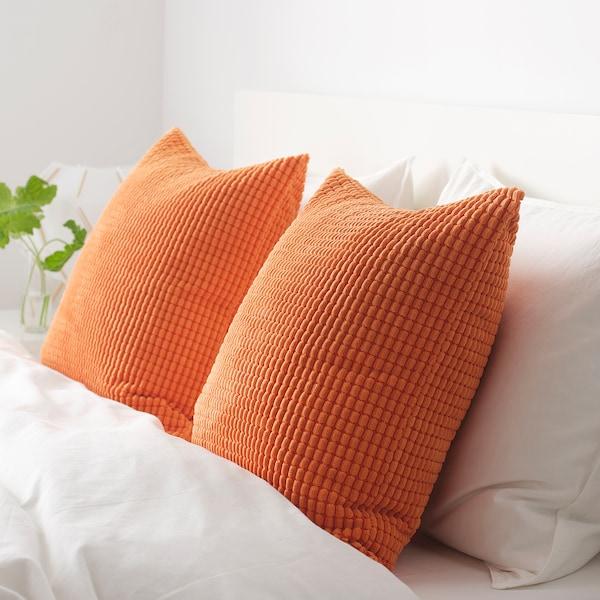 GULLKLOCKA Housse de coussin, orange, 50x50 cm