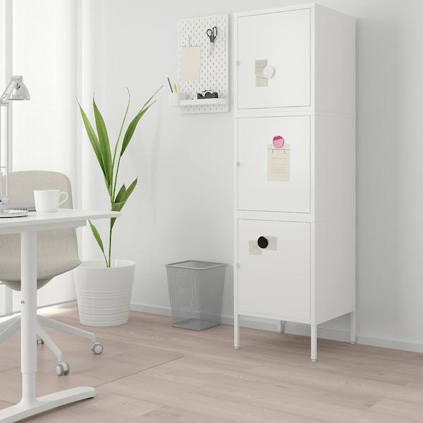 HÄLLAN Combinaison rangement portes, blanc, 45x47x167 cm