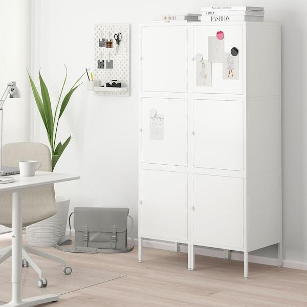HÄLLAN Combinaison rangement portes, blanc, 90x47x167 cm