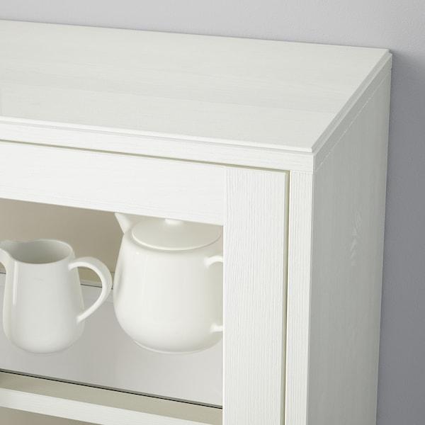 HAVSTA Armoire vitrée avec plinthe, blanc verre transparent, 81x37x134 cm