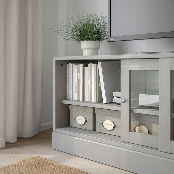 HAVSTA Banc TV avec plinthe, gris, 160x47x62 cm