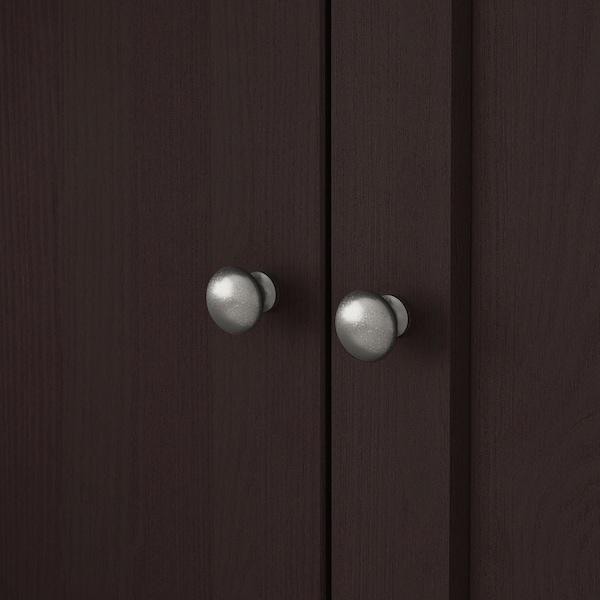 HAVSTA Combinaison rangement ptes vitrées, brun foncé, 203x47x212 cm
