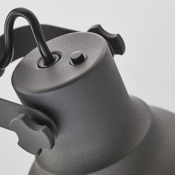 HEKTAR Lampe bureau+station charge s fil, gris foncé