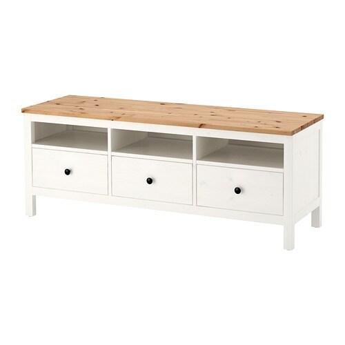 Hemnes Banc Tv Teinte Blanc Brun Clair 148x47x57 Cm Ikea