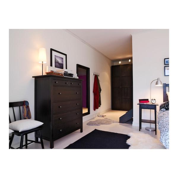 HEMNES Commode 6 tiroirs, brun noir, 108x131 cm