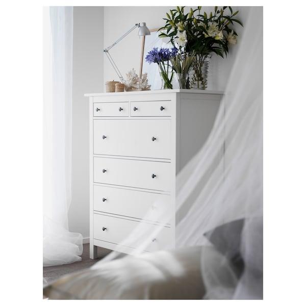 HEMNES Commode 6 tiroirs, teinté blanc, 108x131 cm