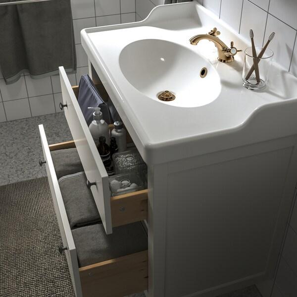 HEMNES / RÄTTVIKEN Meuble lavabo 2tir, blanc/Runskär mitigeur lavabo, 82x49x93 cm