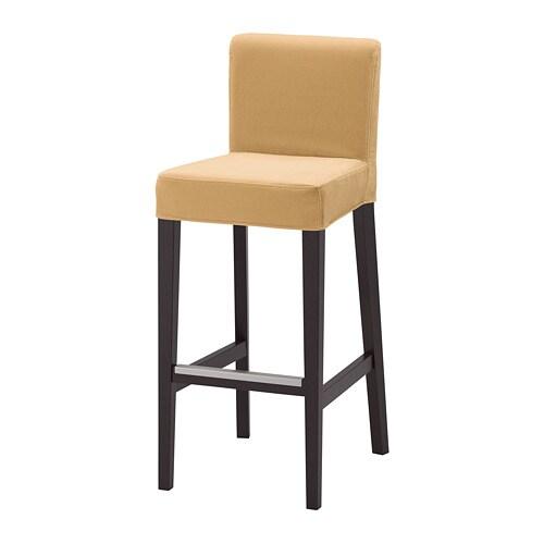 henriksdal tabouret de bar dossier brun noir djuparp jaune beige 74 cm ikea. Black Bedroom Furniture Sets. Home Design Ideas
