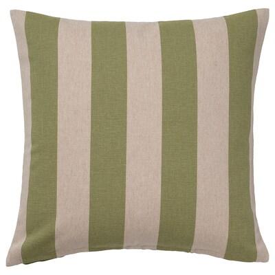 HILDAMARIA Housse de coussin, vert naturel/rayé, 50x50 cm