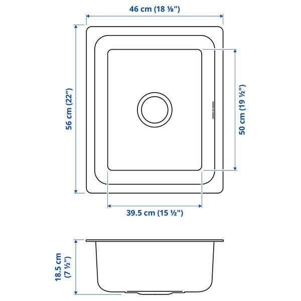 HILLESJÖN Évier intégré, 1 bac, acier inoxydable, 56x46 cm
