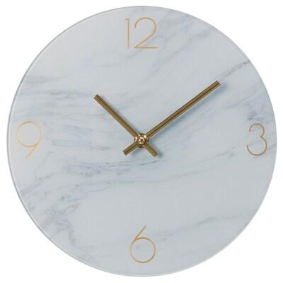 INBJUDARE Horloge murale, marbré/verre, 25 cm