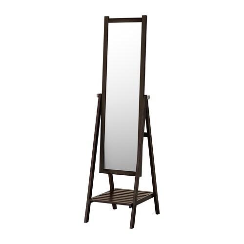 Isfjorden miroir sur pied teinture noir brun ikea - Miroir sur pied blanc ...