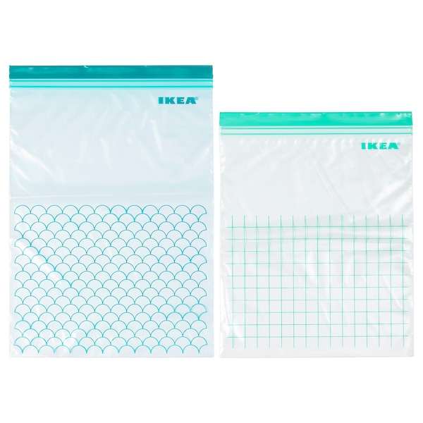 ISTAD sac refermable turquoise/turquoise clair 30 pièces
