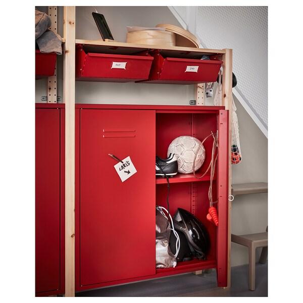 IVAR étagère avec rangements/tiroirs pin/rouge 259 cm 30 cm 179 cm