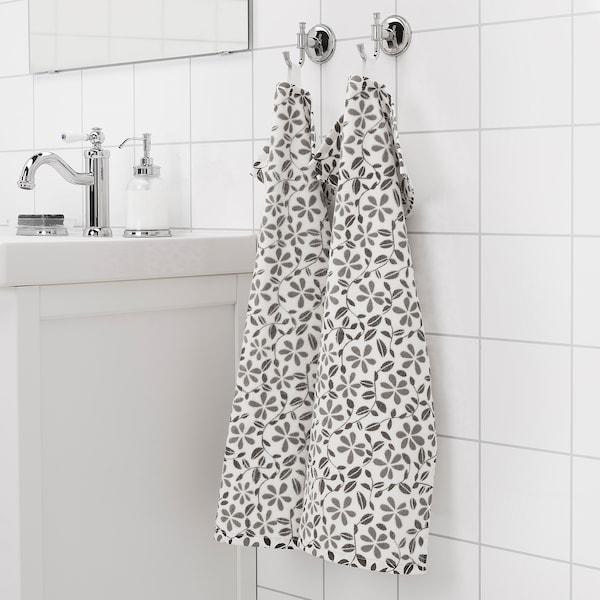 JUVELBLOMMA Serviette, blanc/gris, 40x70 cm