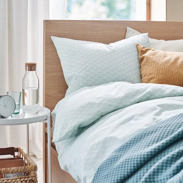 KASKADGRAN Housse de couette et taie, blanc/turquoise clair, 150x200/50x60 cm