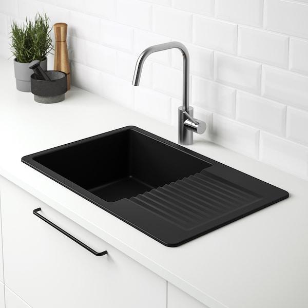 KILSVIKEN Évier intégré, 1 bac avec égouttoir, noir/composite de quartz, 72x46 cm