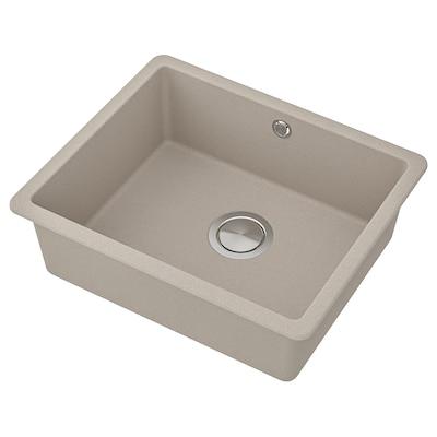 KILSVIKEN évier intégré, 1 bac gris/beige composite de quartz/pr plan travail bois massif s mes 18 cm 50 cm 40 cm 46 cm 56 cm 36 l