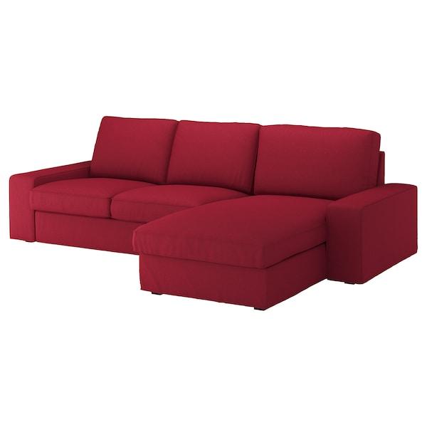 KIVIK Canapé 3 places, avec méridienne/Orrsta rouge