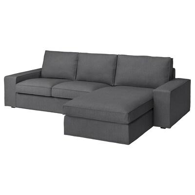 KIVIK Canapé 3 places, avec méridienne/Skiftebo gris foncé