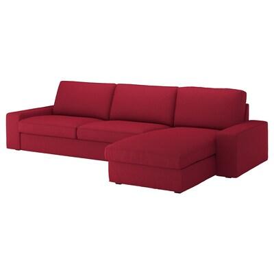 KIVIK Canapé 4 places, avec méridienne/Orrsta rouge
