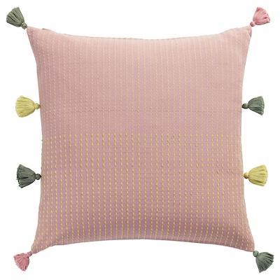 KLARAFINA Housse de coussin, fait main rose/vert, 50x50 cm