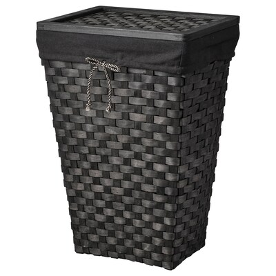 KNARRA Panier à linge, intérieur tissu, noir/brun