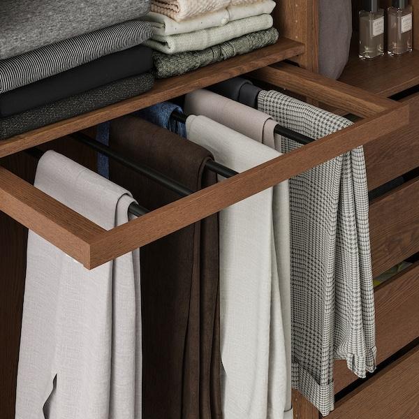 KOMPLEMENT Porte-pantalons coulissant, motif frêne effet brun moyen, 75x58 cm