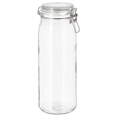 KORKEN Bocal avec couvercle, verre transparent, 2 l