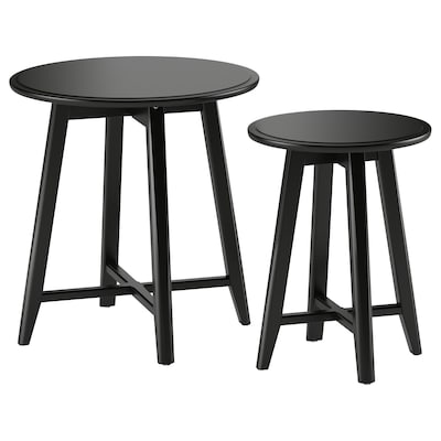 KRAGSTA Tables gigognes, lot de 2, noir
