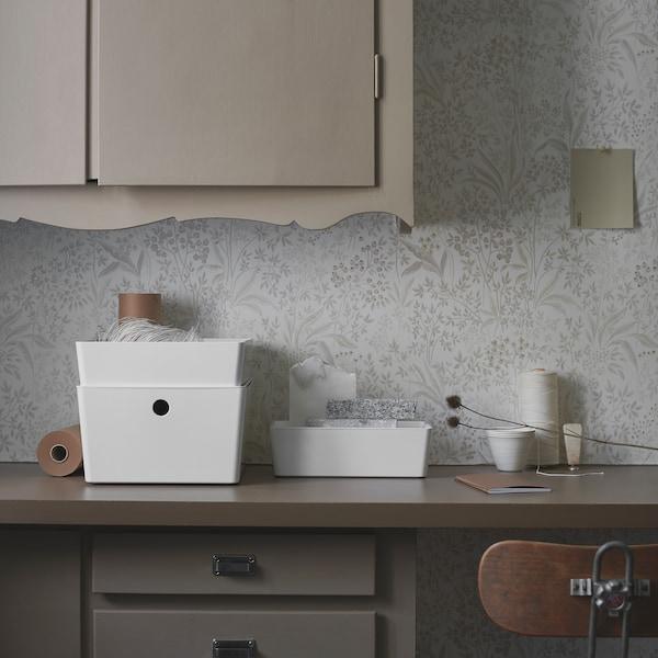 KUGGIS Boîte avec couvercle, blanc, 26x35x15 cm