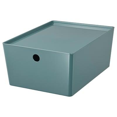 KUGGIS Boîte de rangement avec couvercle, turquoise, 26x35x15 cm