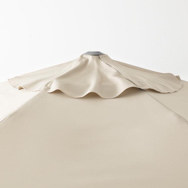 KUGGÖ / LINDÖJA Parasol avec pied, beige/Grytö gris foncé, 300 cm