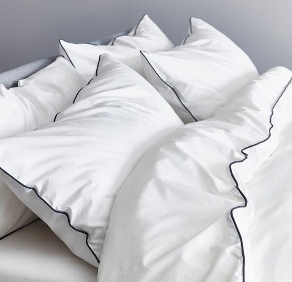 KUNGSBLOMMA Housse de couette et 2 taies, blanc/gris, 240x220/50x60 cm