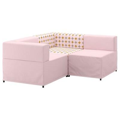 KUNGSHAMN canapé d'angle modulable, 2 places Idekulla rose/Yttered multicolore 85 cm 71 cm 152 cm 170 cm 23 cm 65 cm 44 cm