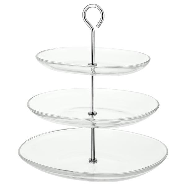 KVITTERA Présentoir, 3 étages, verre transparent/acier inoxydable