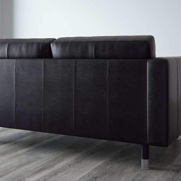 LANDSKRONA Canapé 3 places, avec méridienne/Grann/Bomstad noir/métal
