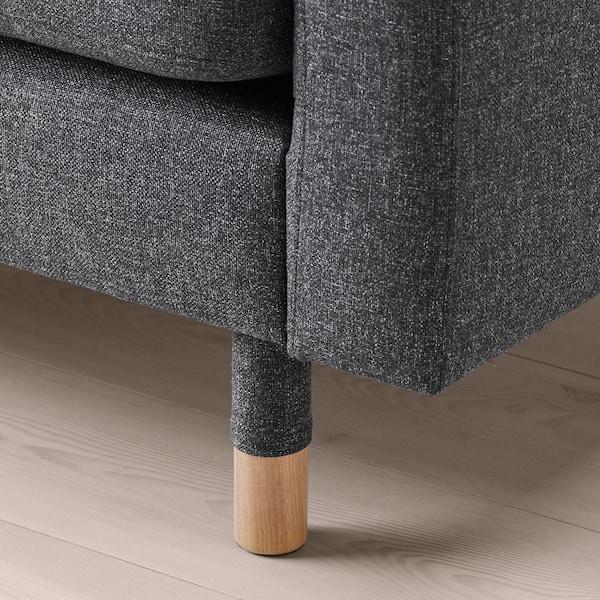 LANDSKRONA Canapé 5 places, avec méridiennes/Gunnared gris foncé/bois