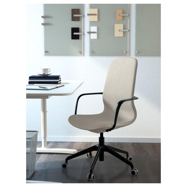 LÅNGFJÄLL Chaise de bureau av accoudoirs, Gunnared beige/noir