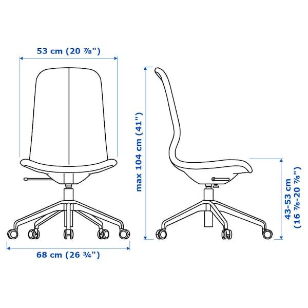 LÅNGFJÄLL Chaise de bureau, Gunnared beige/blanc