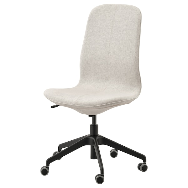 LÅNGFJÄLL Chaise de bureau, Gunnared beige/noir