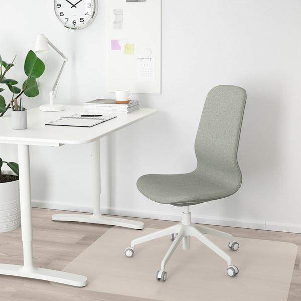 LÅNGFJÄLL Chaise de bureau, Gunnared vert clair/blanc