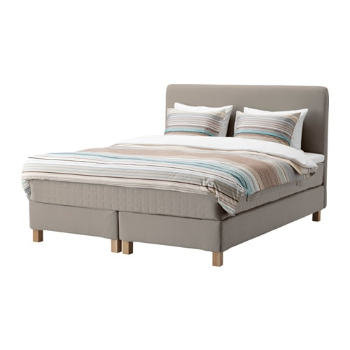lauvik lit sommier tapissier hamarvik mi ferme tuddal beige fonc 160x200 cm burfjord ikea. Black Bedroom Furniture Sets. Home Design Ideas