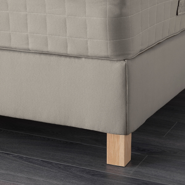 LAUVIK Lit/sommier tapissier, Hamarvik mi-ferme/Tuddal beige foncé, 160x200 cm