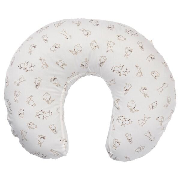 LEN Housse pour coussin d'allaitement, motif lapin/blanc, 60x50x18 cm