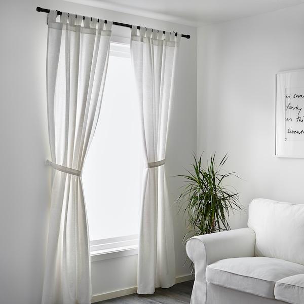 LENDA Rideaux+embrasses, 2 pcs, blanc, 140x300 cm