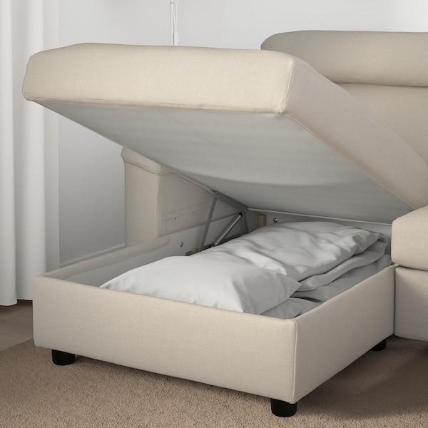 LIDHULT Canapé 3 places, avec méridienne/Gassebol beige clair