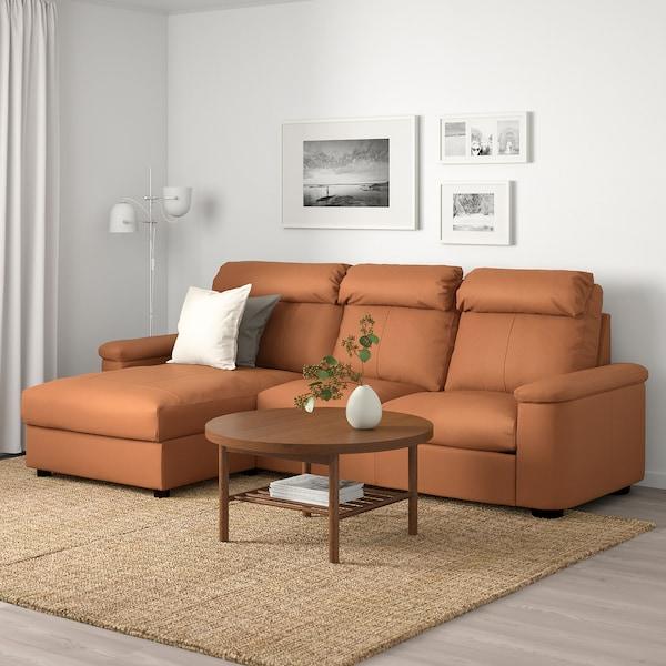 LIDHULT Canapé 3 places, avec méridienne/Grann/Bomstad brun doré
